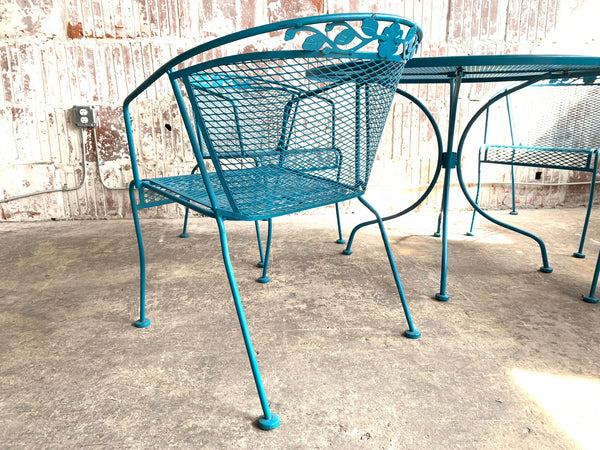 Vintage Wrought Iron Patio Set in the Manner of Russell Woodard rear view