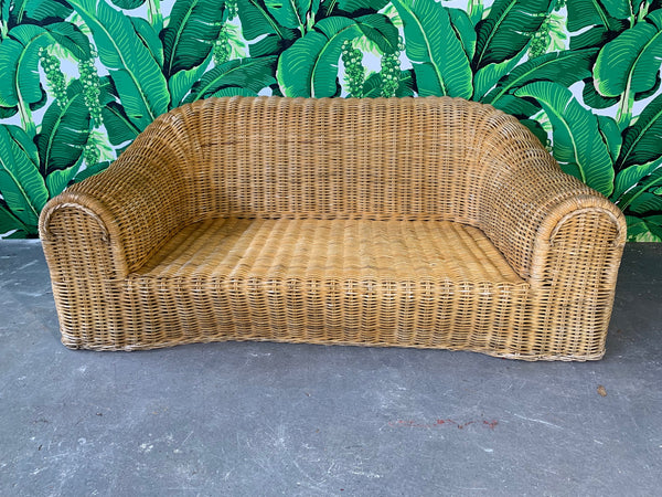 Sculptural Wicker Sofa in the Manner of Michael Taylor full view