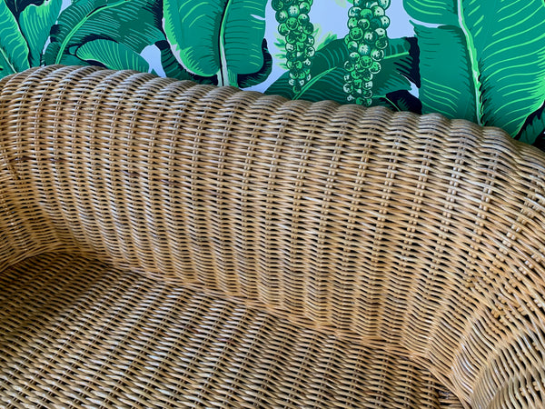 Sculptural Wicker Sofa in the Manner of Michael Taylor