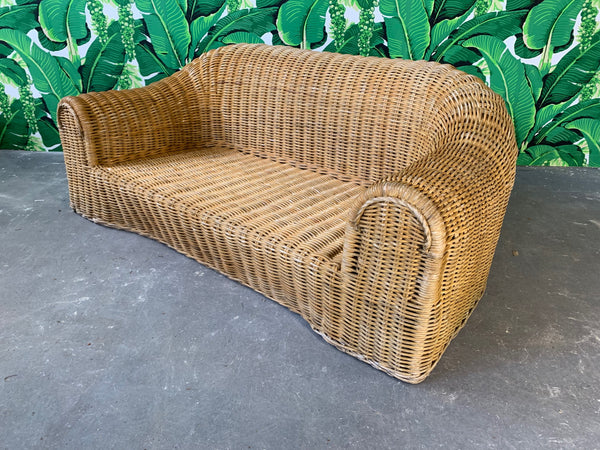 Sculptural Wicker Sofa in the Manner of Michael Taylor front view
