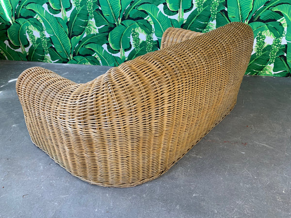 Sculptural Wicker Sofa in the Manner of Michael Taylor rear view