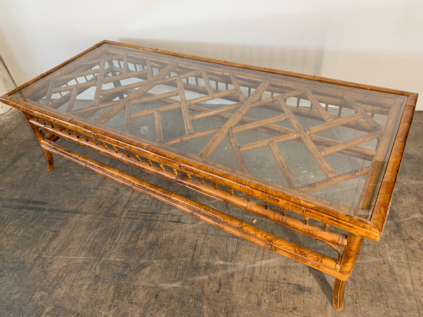 Chinoiserie Tiger Bamboo Coffee Table rear view