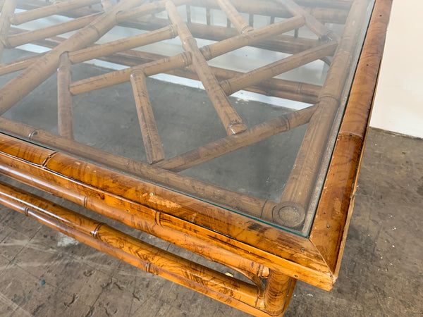 Chinoiserie Tiger Bamboo Coffee Table close up