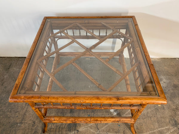 Chinoiserie Tiger Bamboo End Table top view