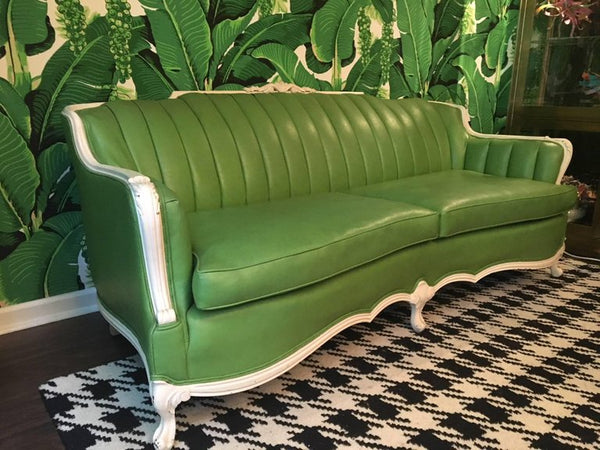 Dorothy Draper Style Green Leather French Provincial Sofa Right Side