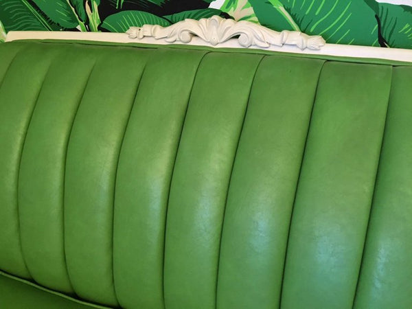 Dorothy Draper Style Green Leather French Provincial Sofa back