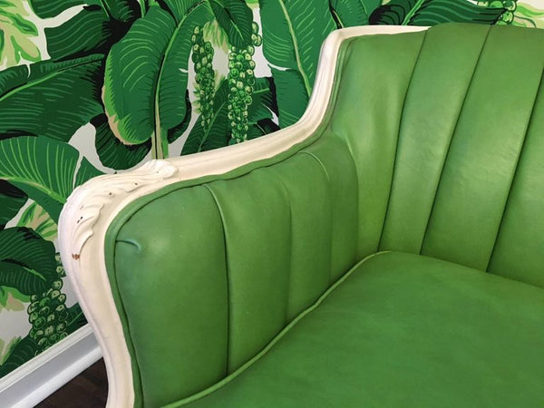 Dorothy Draper Style Green Leather French Provincial Sofa arm