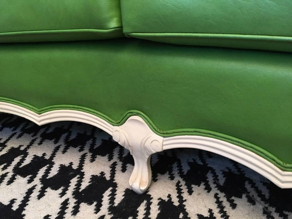 Dorothy Draper Style Green Leather French Provincial Sofa bottom