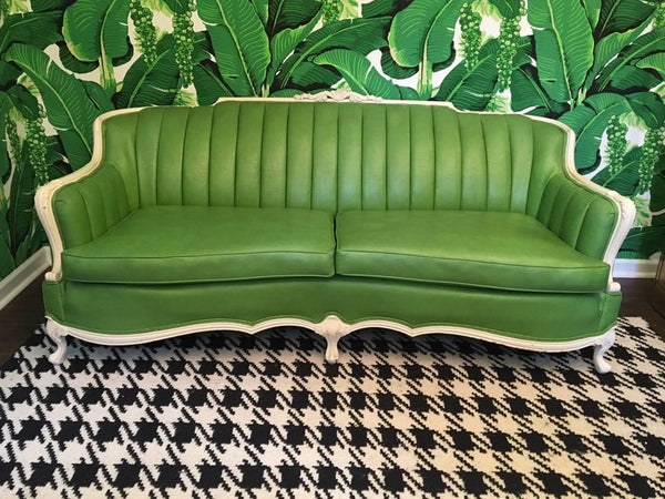 Dorothy Draper Style Green Leather French Provincial Sofa front view