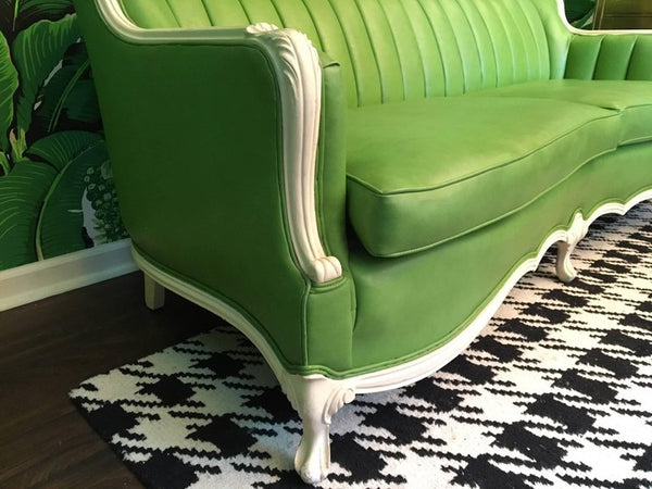 Dorothy Draper Style Green Leather French Provincial Sofa right close up