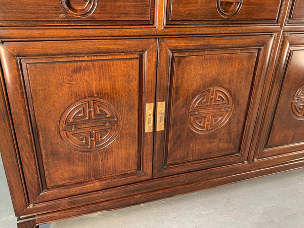 Japanese Redwood Chinoiserie China Cabinet lower view