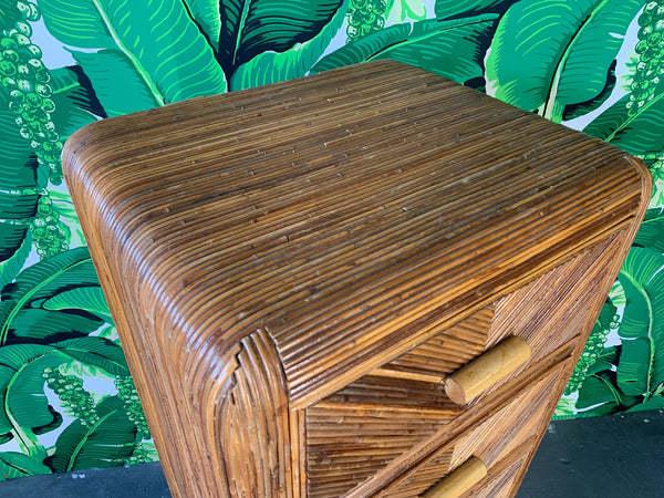 Mid Century Split Reed Rattan Lingerie Chest close up