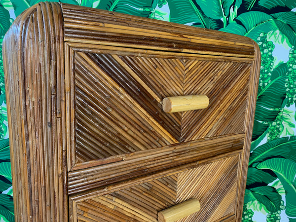 Mid Century Split Reed Rattan Lingerie Chest
