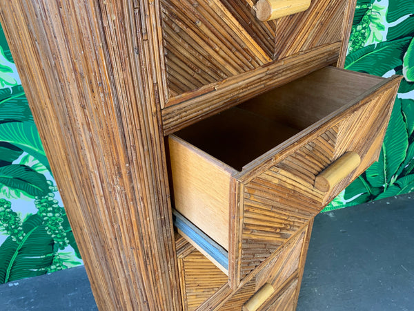 Mid Century Split Reed Rattan Lingerie Chest open view