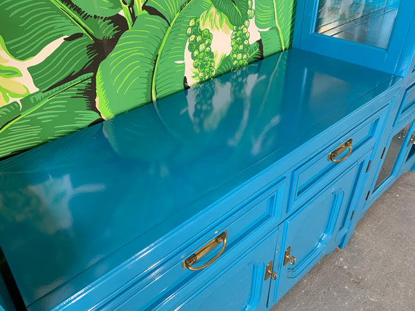 Thomasville Display Cabinets and Buffet in Blue Lacquer top view