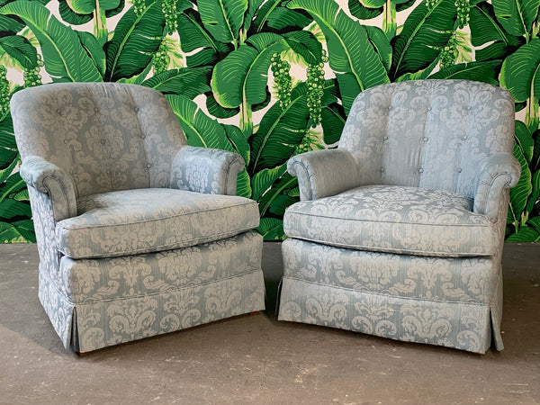 Pair of Swivel Club Chairs by Henredon front view