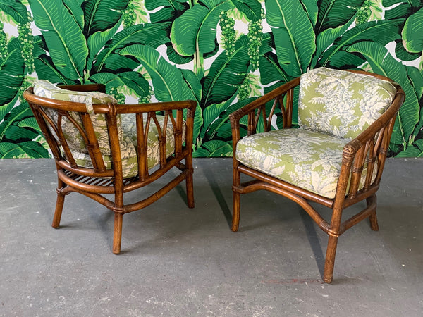 Pair of Bamboo Club Chairs in the Style of McGuire front view