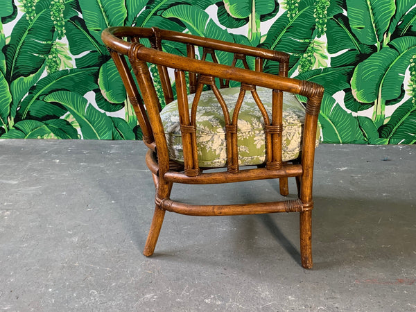 Pair of Bamboo Club Chairs in the Style of McGuire side view