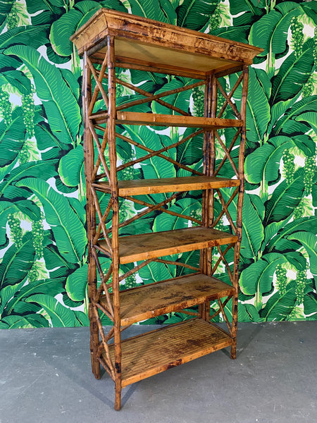 Burnt Bamboo X Stretcher Etagere side view