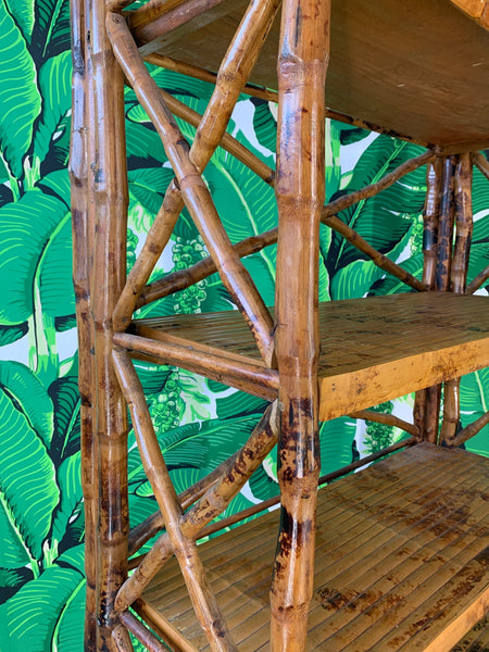 Burnt Bamboo X Stretcher Etagere close up