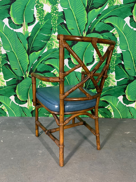 Set of Six Chinese Chippendale Bamboo Dining Chairs rear view