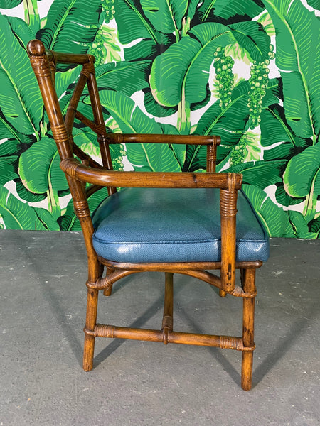 Set of Six Chinese Chippendale Bamboo Dining Chairs side view