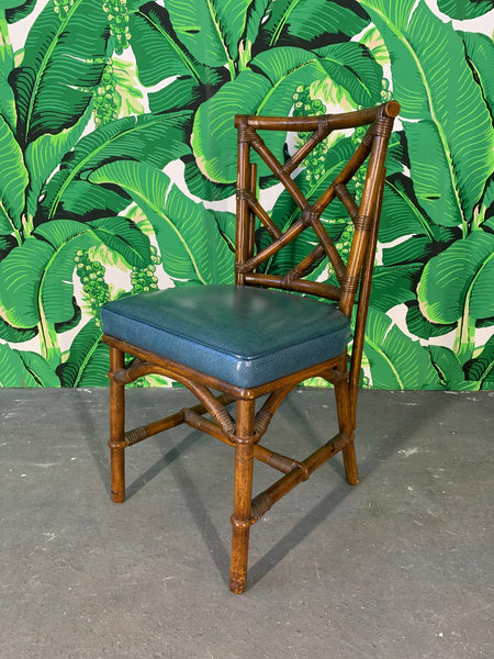 Set of Six Chinese Chippendale Bamboo Dining Chairs front view