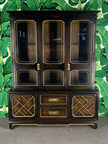 Asian Chinoiserie China Cabinet by American of Martinsville front view