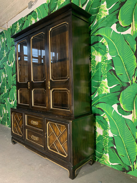 Asian Chinoiserie China Cabinet by American of Martinsville side view