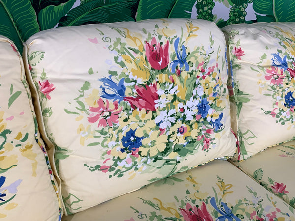 Pair of Floral Upholstered Sofas by Sherrill close up