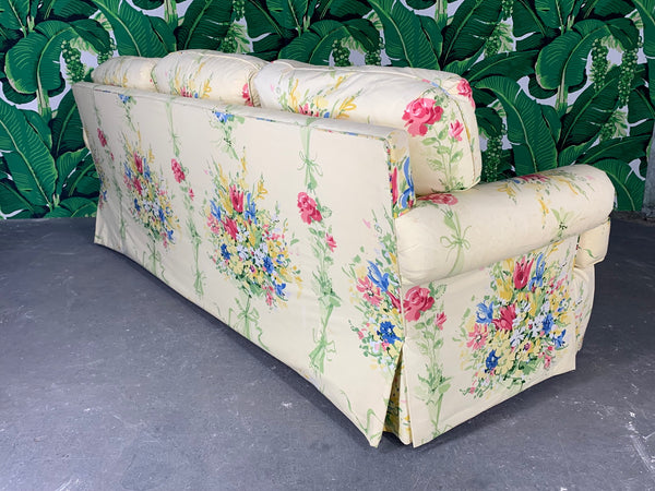 Pair of Floral Upholstered Sofas by Sherrill rear view