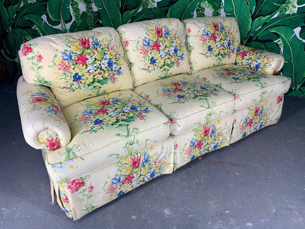 Pair of Floral Upholstered Sofas by Sherrill front view