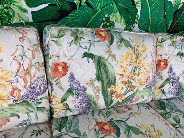 Pair of Floral Upholstered Sofas by Robb and Stucky close up