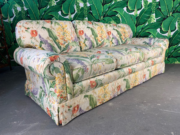 Pair of Floral Upholstered Sofas by Robb and Stucky front view