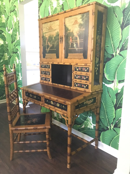 Hand Painted Asian Chinoiserie Secretary Desk