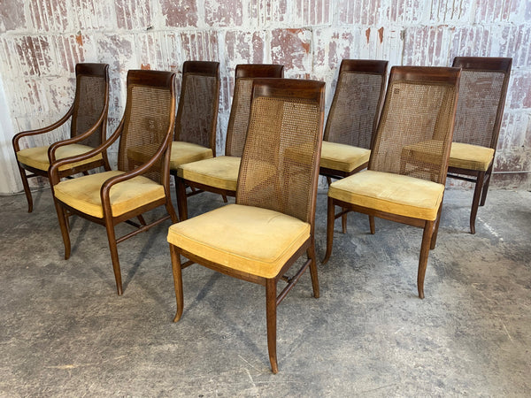 Mid-Century High Back Cane Dining Chairs by Drexel front view