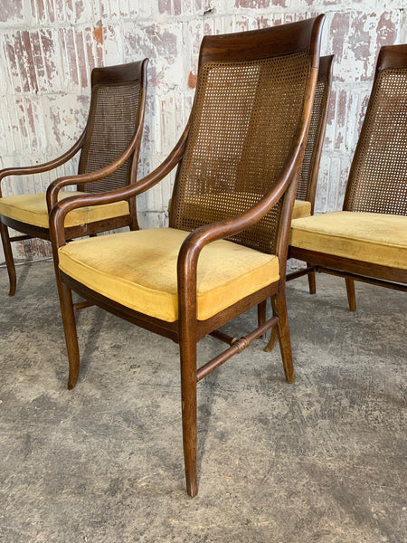 Mid-Century High Back Cane Dining Chairs by Drexel side view