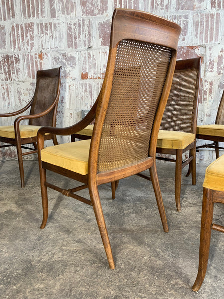 Mid-Century High Back Cane Dining Chairs by Drexel rear view