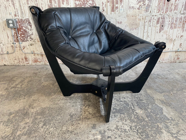 """Luna"" Lounge Chair by Odd Knutsen in Black Leather front view"