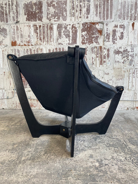 """Luna"" Lounge Chair by Odd Knutsen in Black Leather rear view"