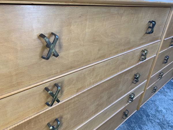Paul Frankl Ten Drawer Dresser Circa 1950s by Johnson Furniture close up