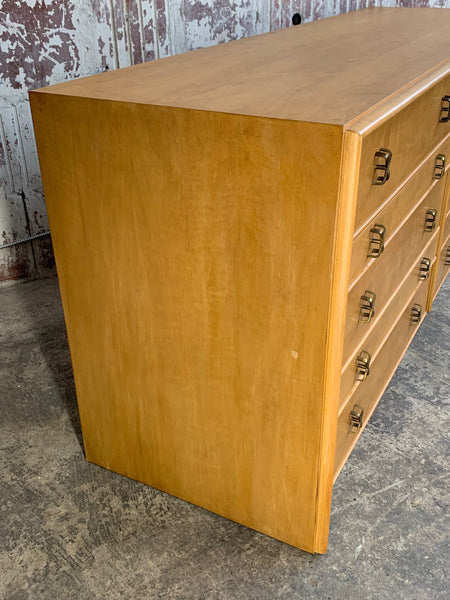 Paul Frankl Ten Drawer Dresser Circa 1950s by Johnson Furniture side view
