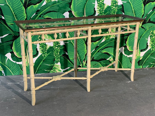 Brass and Glass Faux Bamboo Console Table by Thomasville front view