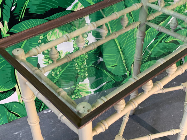 Brass and Glass Faux Bamboo Console Table by Thomasville top view