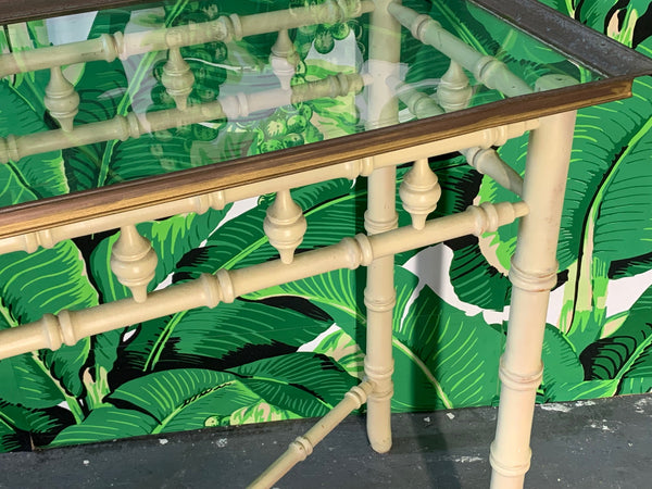 Brass and Glass Faux Bamboo Console Table by Thomasville close up