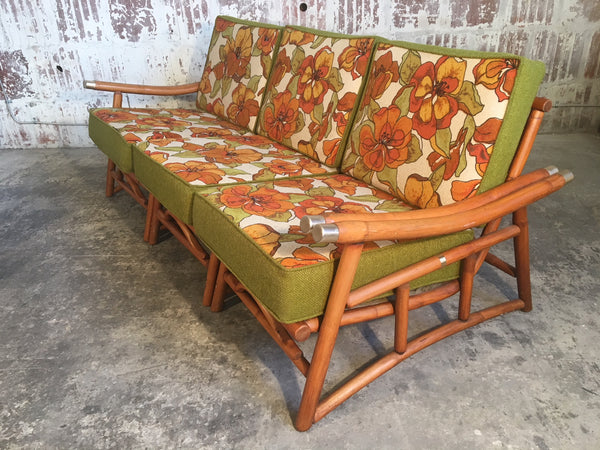 Vintage Ficks Reed Bamboo Sectional Sofa