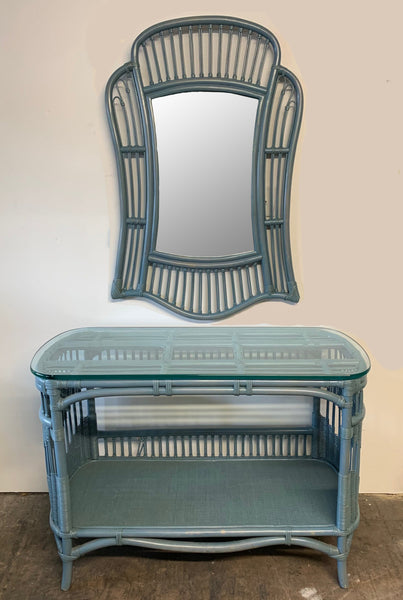 Rattan and Wicker Console Table and Mirror front view