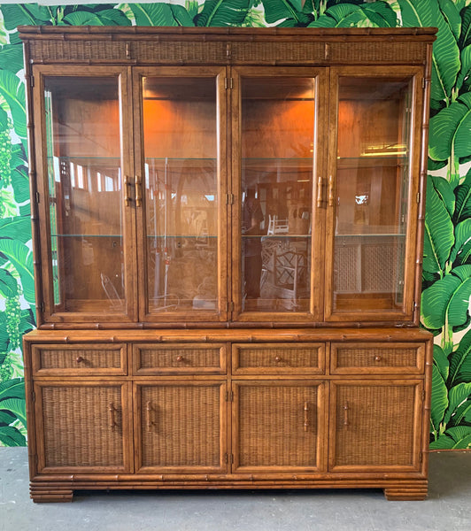 Faux Bamboo and Rattan China Cabinet by American of Martinsville front view