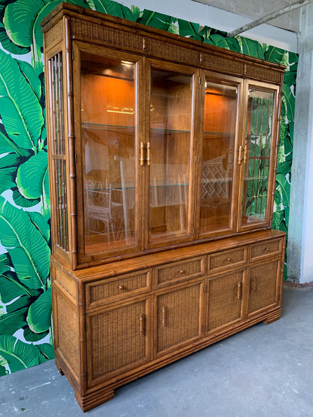Faux Bamboo and Rattan China Cabinet by American of Martinsville side view