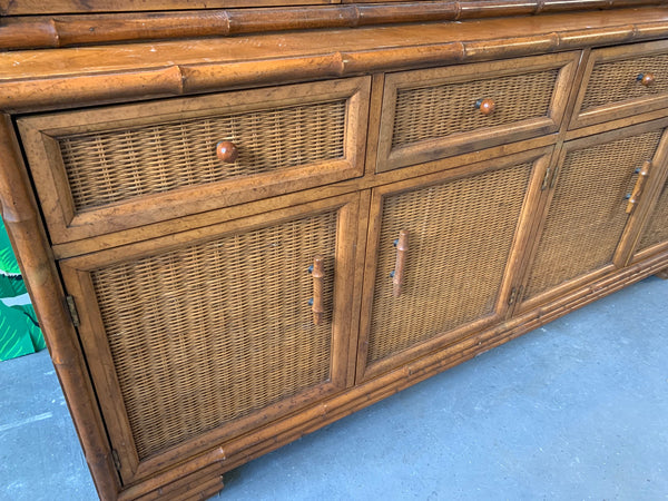 Faux Bamboo and Rattan China Cabinet by American of Martinsville lower view